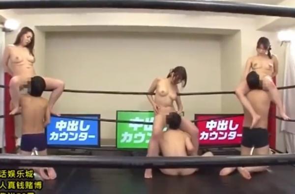 リングの上で3人の巨乳美女がイクまでクンニをされる中出しレスリング大会